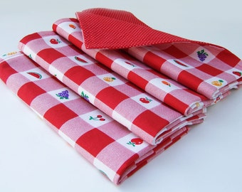 Cloth Dinner Napkins- Red White Checks and dots with fruit- Reversible- Cotton- Set of 4