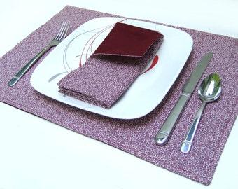Cloth Placemats- Burgundy Wine Floral- Reversible-Cotton- Set of 4