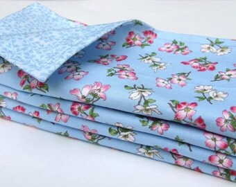 Cloth Dinner Napkins- Dogwoods on Blue- Reversible- Cotton- Set of 4
