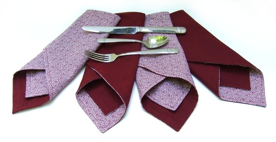 Cloth Napkins- Burgundy Wine Floral- Reversible-Cotton- Set of 4