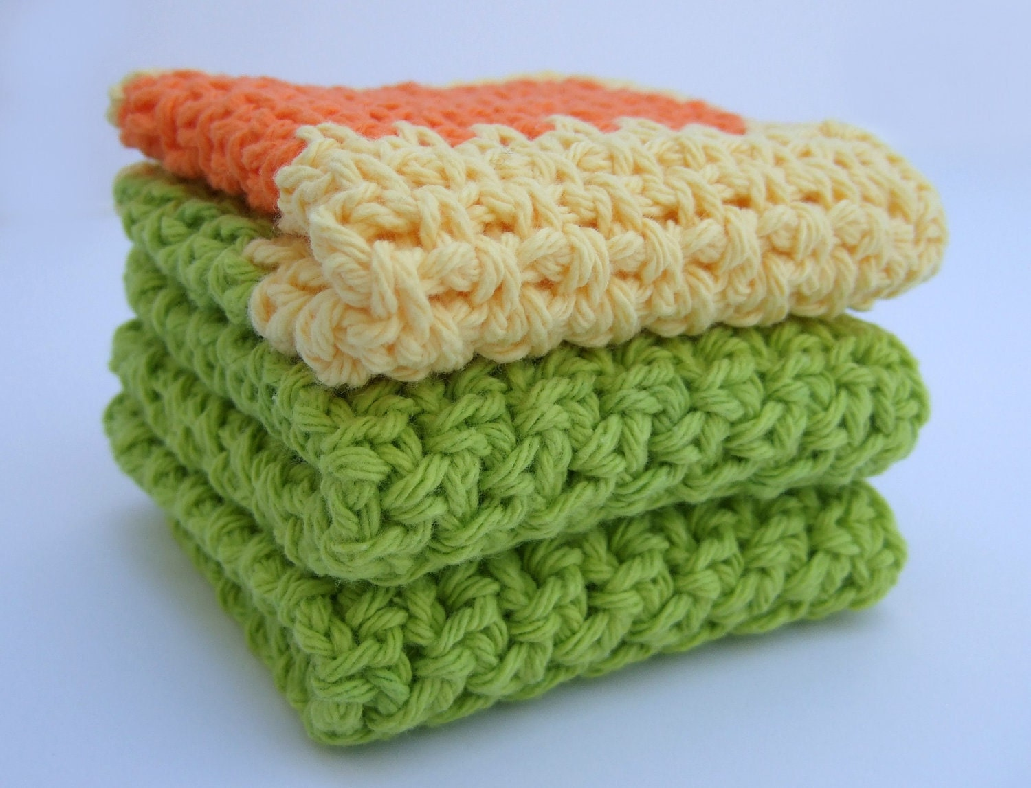 Dishcloths Lime Green Orange And Yellow Crochet Cotton