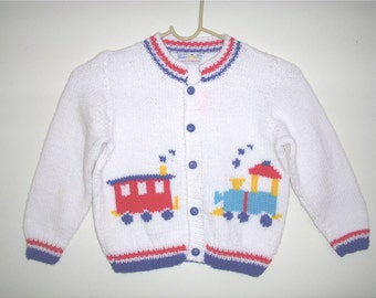 Hand-knitted Boys Train Button Down Sweater