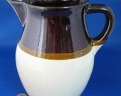 Brown Dip Pottery Jug Pitcher 1940s Robinson Ramsbottom Roseville Vintage