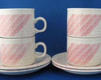 Mid Century Cups And Saucers Pink Polka Dots Stripes Shades Set 4 1960s
