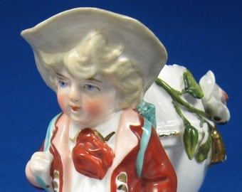 Antique Match Holder Boy With Eggshell Toothpick Hand Painted 1860s Mid Victorian