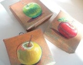 Autumn Apples Botanical Series, Set of 3 Teeny Tiny Original Paintings