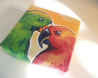 Love Birds, Teeny Tiny Original Nature Painting with Easel
