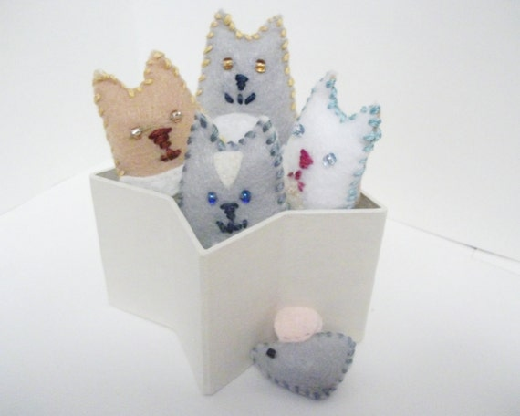 Box of Cats, four tiny kitty eco felt plushies with mouse friend