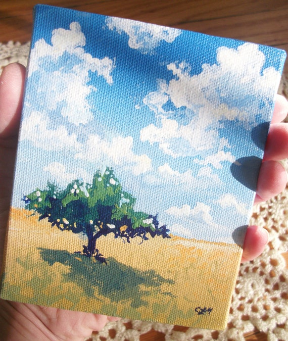 Tiny Original Nature Painting with Easel, The Golden Field