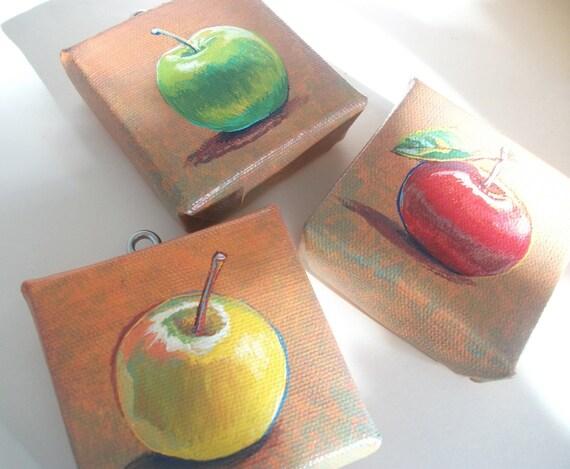 Autumn Apples Botanical Series, Set of 3 Teeny Tiny Original Paintings