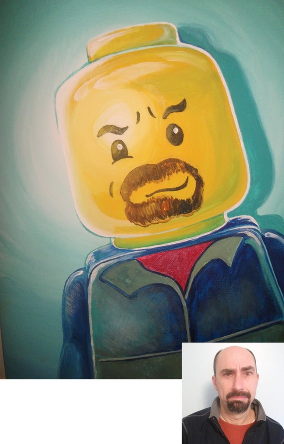 You as a Lego Guy: Custom Portrait of you or your loved one(s) 11 x 14