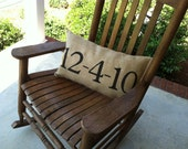 personalized anniversary burlap pillow