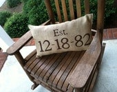 personalized anniversary burlap pillow