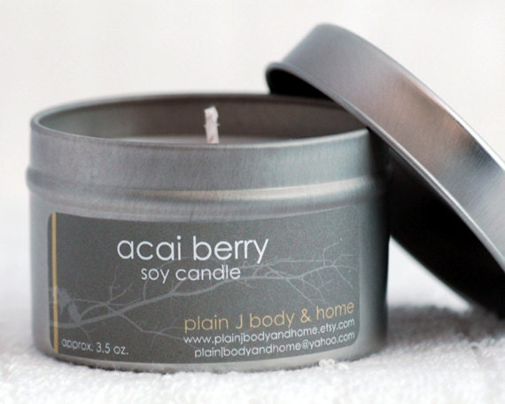 CLEARANCE Acai Berry Soy Candle Tin 4 oz. - crisp fruity sandalwood scented soy candle