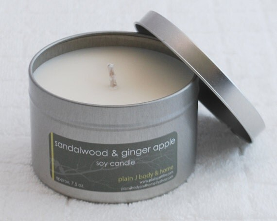 CLEARANCE Sandalwood & Ginger Apple Soy Candle Tin 8 oz. - fall holiday scent soy candle
