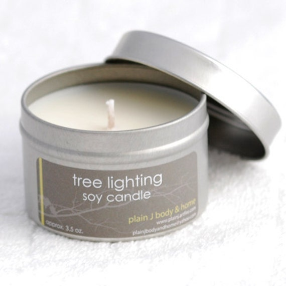 CLEARANCE Tree Lighting Soy Candle Tin 4 oz. - holiday spruce crisp fresh scented soy candle