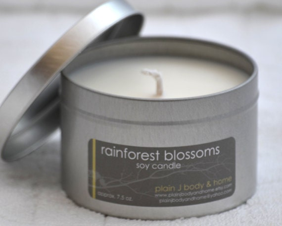 CLEARANCE Rainforest Blossoms Soy Candle Tin 8 oz.