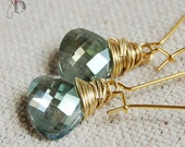 Evelyn - Erinite Green Faceted Teardrop Crystal Earrings in Gold