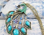 blue peacock  crystal gemstone  necklace vintage antique brass chain pendant charm ON0238