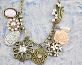 flower bead bib necklace retro vintage antique brass chain pendant charm