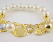 Beaded gold charms chain bangle bracelets  OB0020
