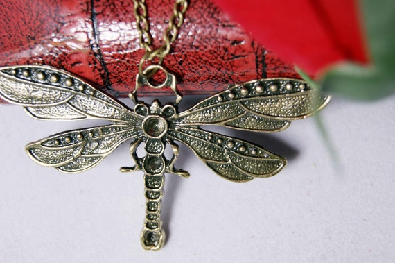 antique dragonfly necklace copper brass pendant charm