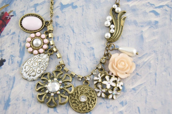 flower bead bib necklace retro vintage antique brass chain pendant charm