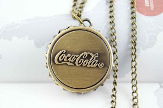 coca cola bottle caps round necklace locket pocket watch pendant charm vintage antique brass   pn0007