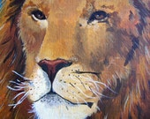 "Original animal painting - ""Lion"" , acrylic paint on canvas panel, by dikka"