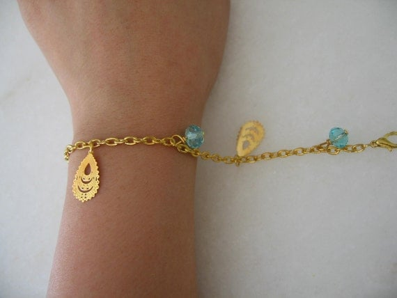 Handmade Elegant Classy Gold plated Peacock Feather Minimalist Bracelet with Blue Beads