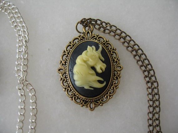 Whimsical Magical Unicorn Cameo Necklace Black and Ivory