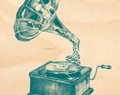 Timber Postcard - Grammaphone (blue-green)