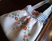 Linen Bag with Beautiful Vintage Hand Embroidery