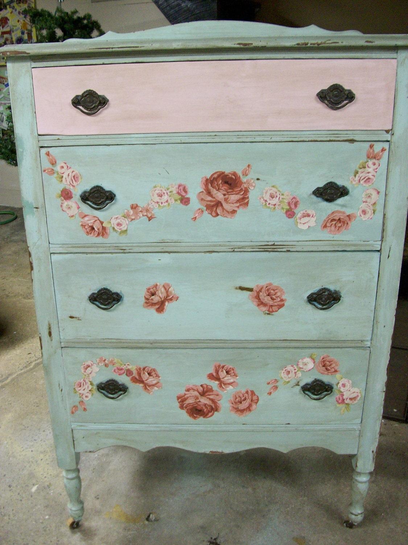 Pink Dressers For Girls Bedroom Set: Shabby Aqua Pink Shabby Rose Decoupage Four Drawer Vintage