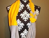 Gray and Yellow Jersey Knit Braided Infinity Scarf