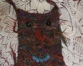 Anthro - primitive bag tote crocheted handmade embelished face boho hippie funky daring eco gipsy rustic nomad  by Zestria