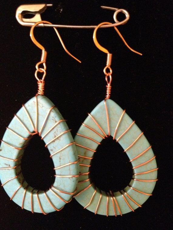 Turquoise and Copper-wrapped earrings