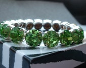 "7.5"" Peridot Bracelet made with Swarovski Elements - 8mm Round"