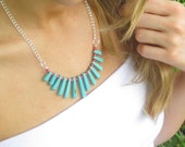 Turquoise & Coral Fan Necklace on Silver Chain
