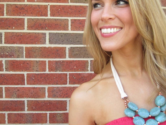 Turquoise Beaded Bib Necklace with Jersey Tie - Turquoise, Cream, & Rose Gold