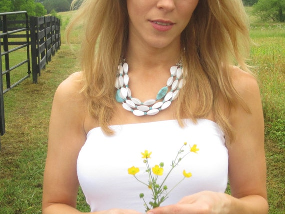 Chunky White & Turquoise Beaded Statement Necklace