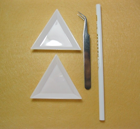 Decoden Tools: Pincers Tweezers Nippers, Cabochon Pencil Pen Pick Up, & Plastic Storage Plates Triangle -PW-