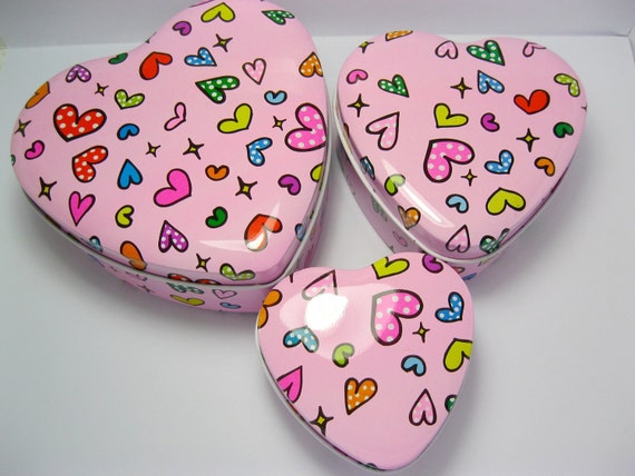 Pink Gift Box Set, Love Heart Shaped, Pink Polka Dots, Metal Jewelry Organizers Packaging, 3 pcs - Gift Wrap Supplies by PengWorkshop