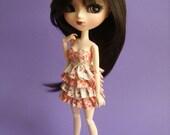 Pullip/Obitsu Pink Floral Ruffle Dress