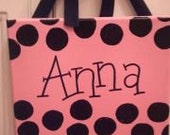 Handpainted Personalized Kids bedroom polka dot sign or wall hanging
