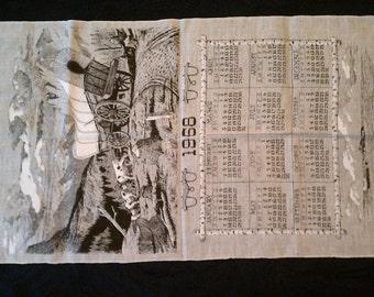 Vintage Calendar Tea Towel from 1968 Never Used