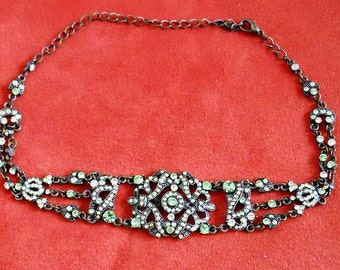 VCLM Victorian Edwardian Choker Necklace and Earring Set Pale Green Crystals