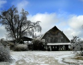 Blue Skies Winery on a Cold Snowy Winter Day 10x20