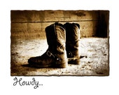 Howdy Note Card with Distressed Cowboy Boots in Sepia Barn Door Light