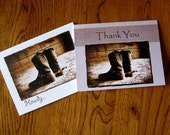 Distressed Rustic Cowboy Boots with Spurs Note Cards-variety pack of six